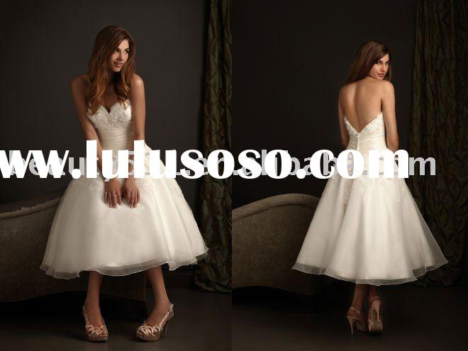 2011sweety style tea length lovely short and sassy wedding dresses prom gown prom gressesYP0100