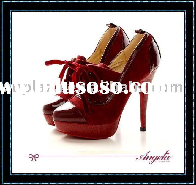 2012 Classic Design Lace up Red Women Shoes Faux Suede High heel Fashion Dress shoes Red sole Ankle