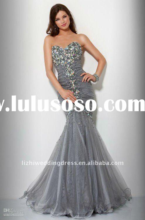 2012 Fashion Cheap Satin One-Shoulder Satin Beaded Floor Length Noble Evening Dress ZOU020