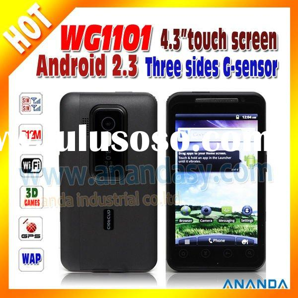 2012 New Arrival! WCDMA Dual SIM Card Mobile Phone WG1101 Capacitive WiFi 3G Mobile Phone