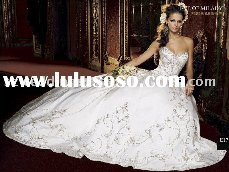 2012 New Designer Hot selling Exquisite Sweetheart Embroidery Organza Bridal Wedding Gown