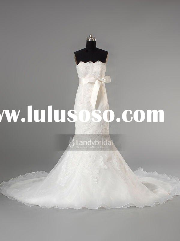 2012 Nice Lace A Line With Long Train Bridal Wedding