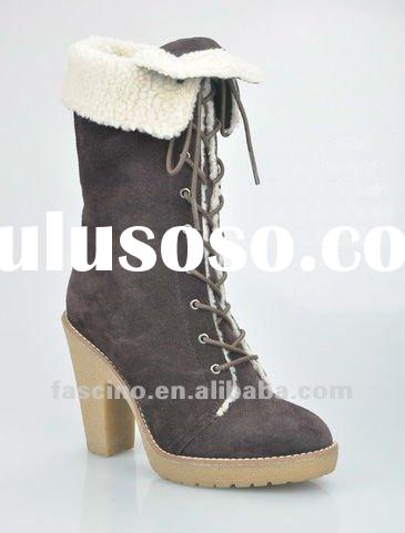 2012 fur lined leather boots women fashion winter boots