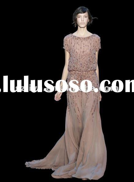 2012 new arrival elie saab top with beautiful beadings chiffon evening dress