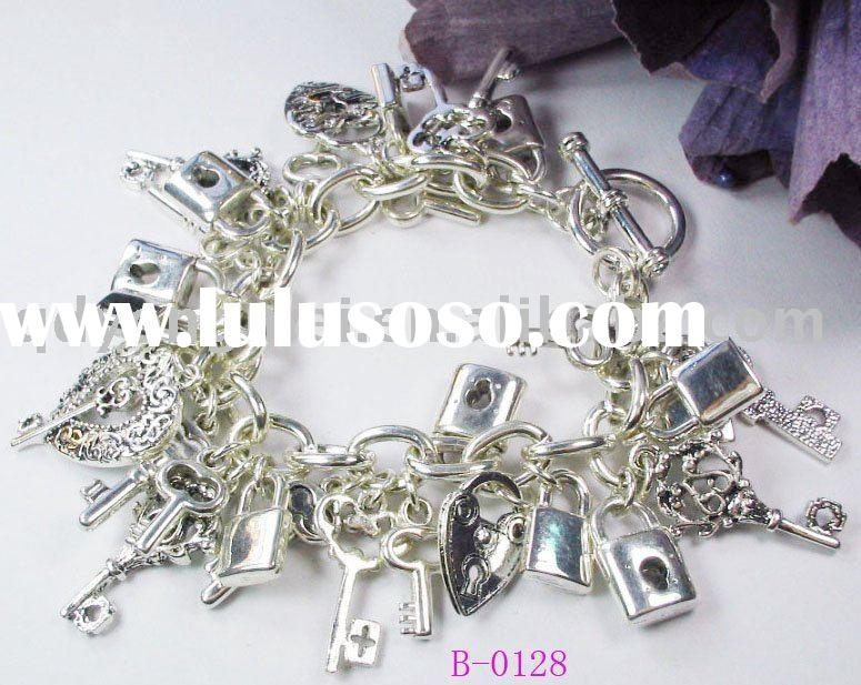 2012 new design fashion jewerly silver plated alloy lock and key charms for charm bracelets for wome