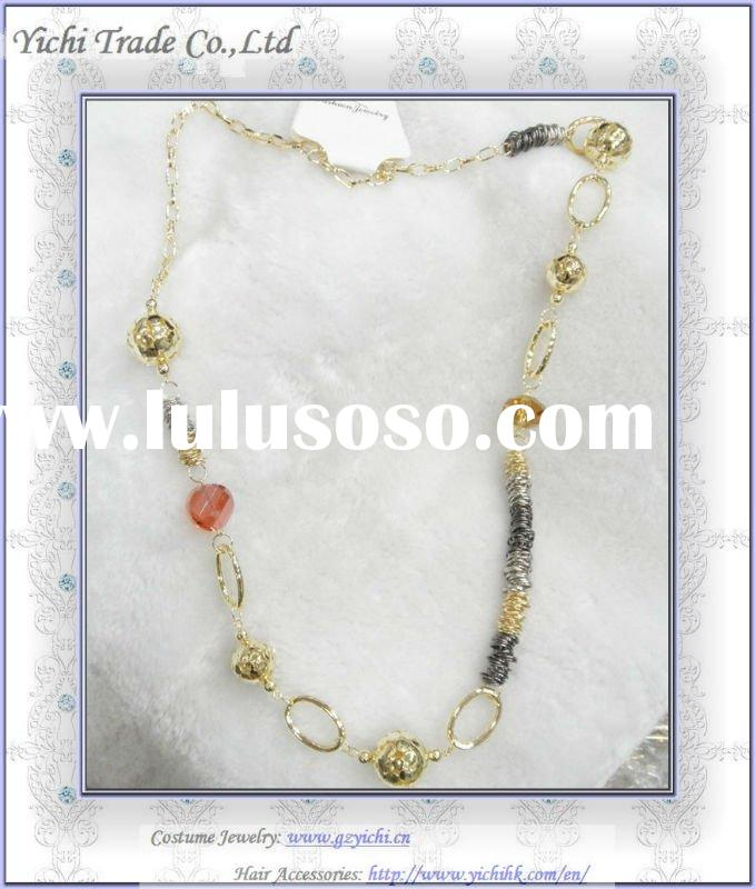 2012 new design long silver gold chain bead necklace