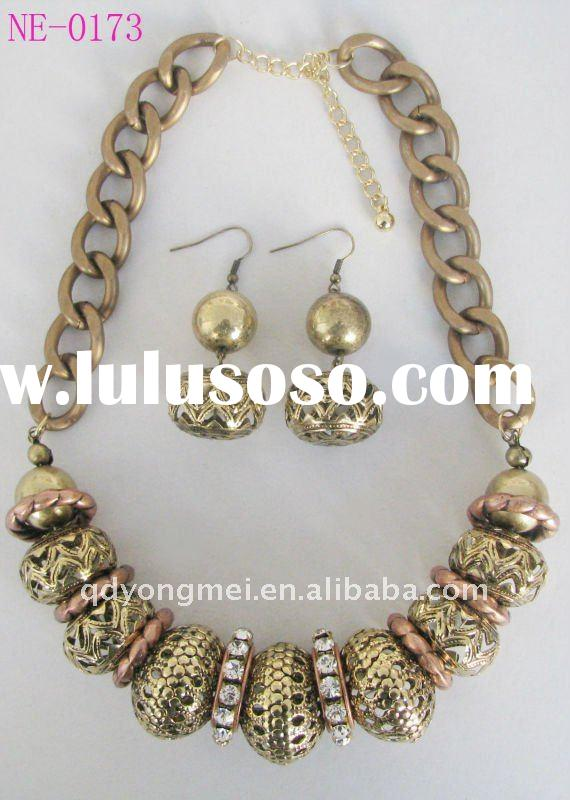 2012 new fashion costume metal alloy diamond gold african jewelry sets