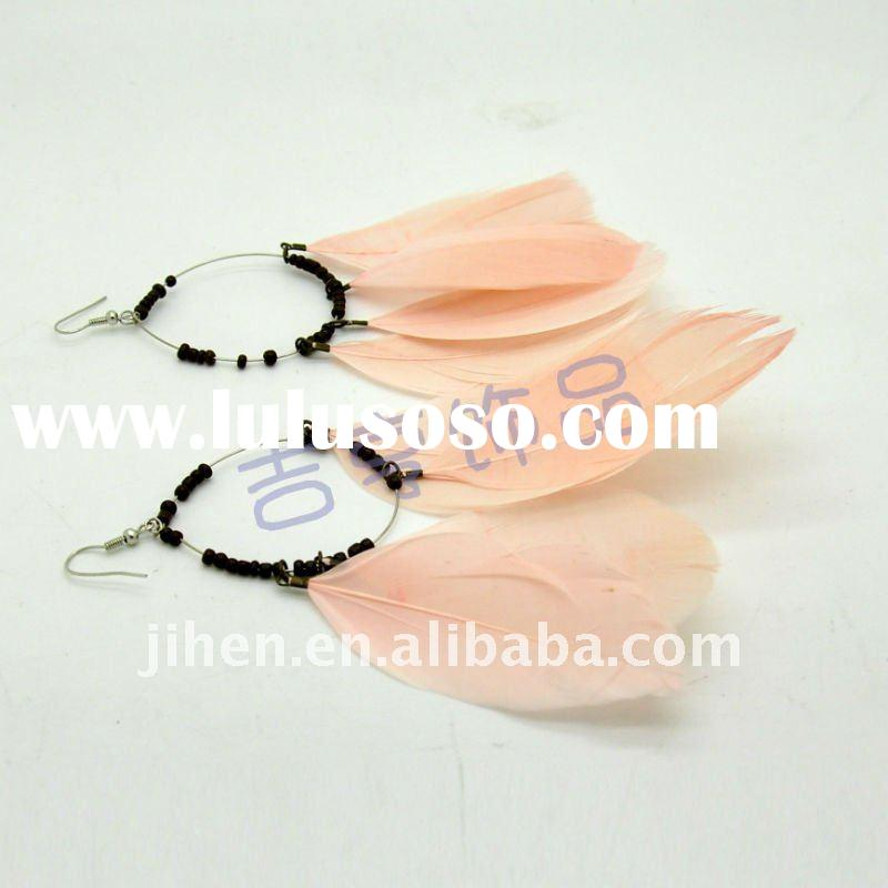 2012 newest fashion colorful feather earrings