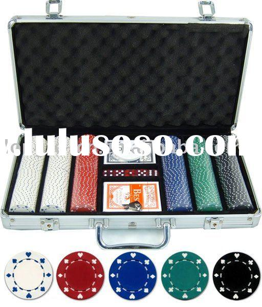 300pcs Casino style poker chips set in aluminium case