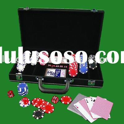 300pcs Poker chips set with leather box