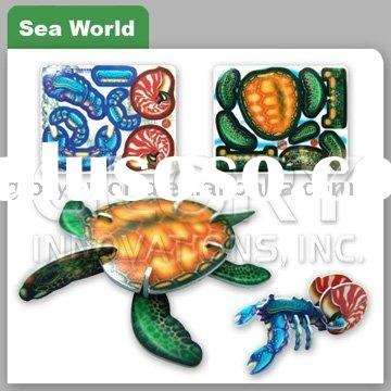 3D Plastic Puzzle Card With Sea World Image