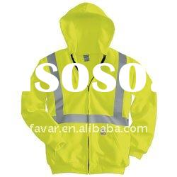 3M high visbility reflective tape Class 3 Thermal-lined Zip-front Hooded Sweatshirt