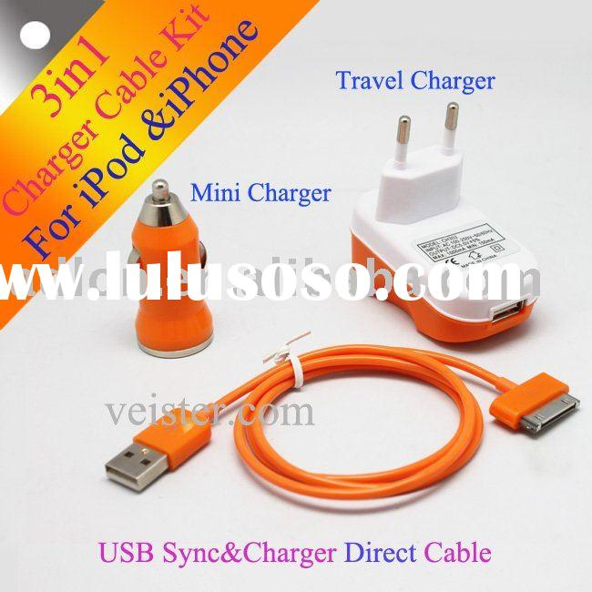 3 in 1 car charger travel charger USB charger & data cable