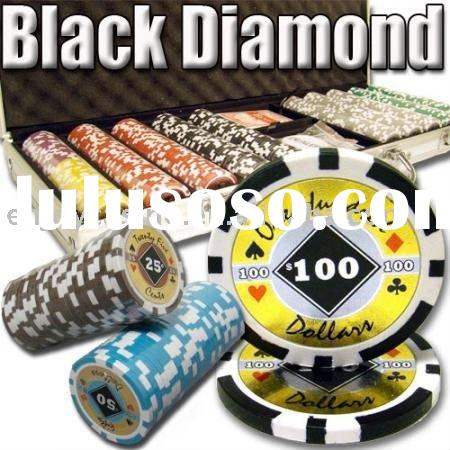 500pc Black Diamond professional Texas customized poker chip set