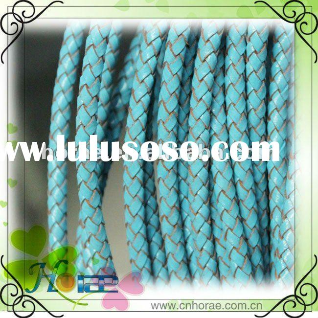 5mm round braided leather cord ,light blue