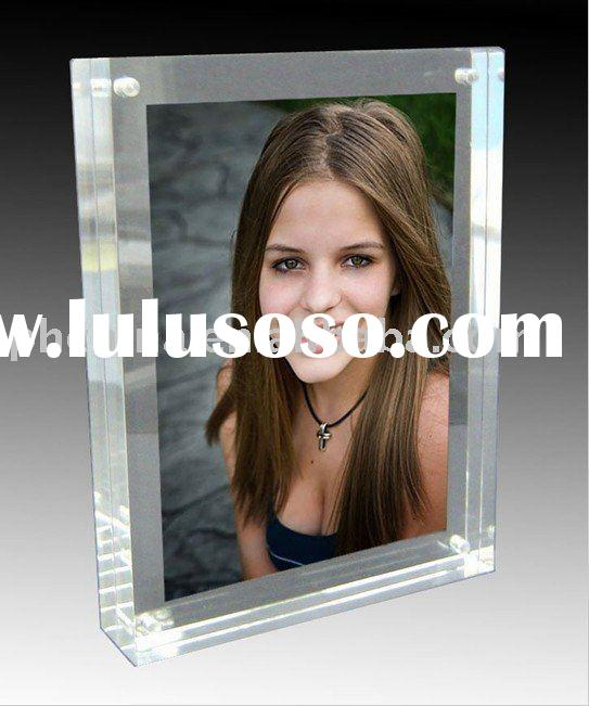 "7"" x 5"" 20mm Thick Clear Acrylic Magnetic Photo Frame;Clear Acrylic Photo Frame Block;Acry"