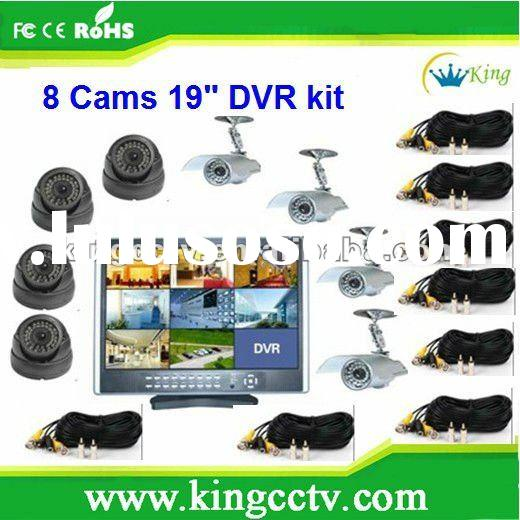 8CH 19inch LCD DVR security camera systems 8 Cameras digital network security system dvr