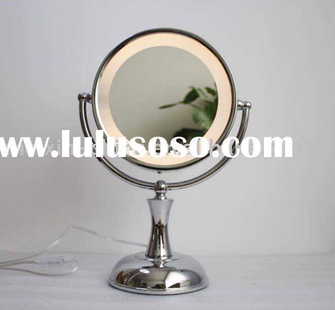 8.5-inch double-sided LED lighted makeup mirror desktop mirror Metal Mirror