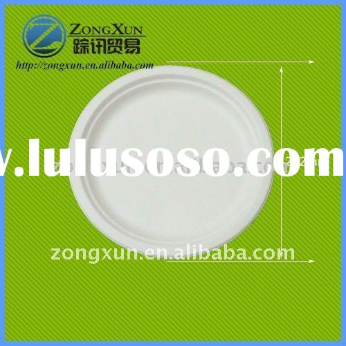 8.6' biodegradable disposable bagasse square paper plate with FDA,LFGB,SGS certificate