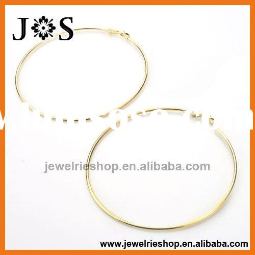 90mm Gold Plated Fashion Hoop Earring Jewelry Round Findings Accessory
