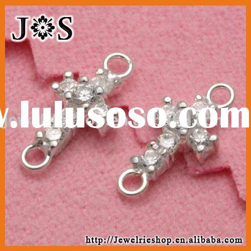 925 Sterling Silver Jewelry Fashion CZ Stone Cross Pendant Connector Findings