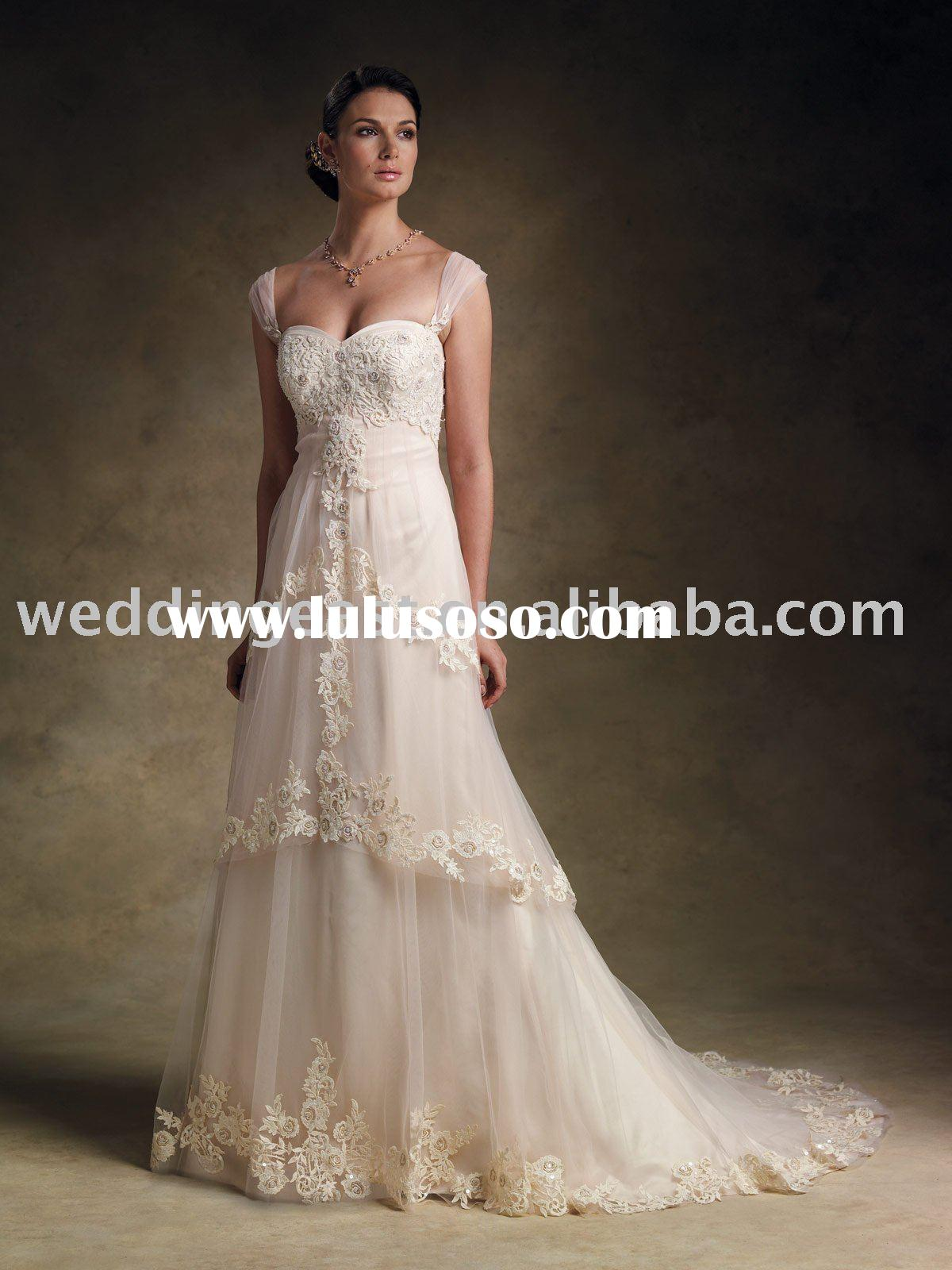 A-line cap sleeve strapless ivory lace wedding gown-sqsm123