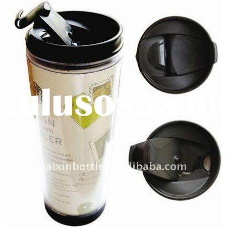 Advertising double walled plastic coffee mug thermo tumbler