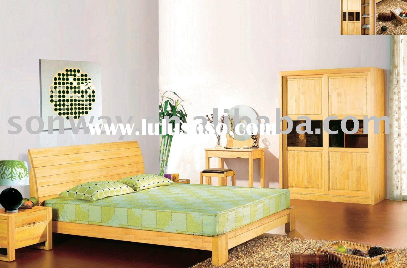 Aesthetic Design Natural Pine Wood Bedroom set