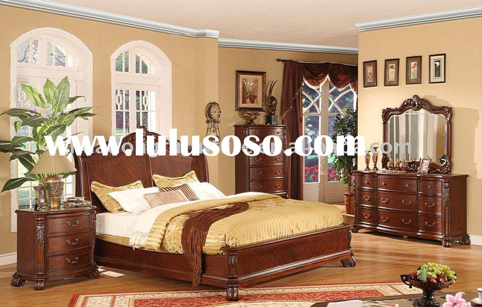Antique Solid Wood Home Furniture Bedroom Set HDB009
