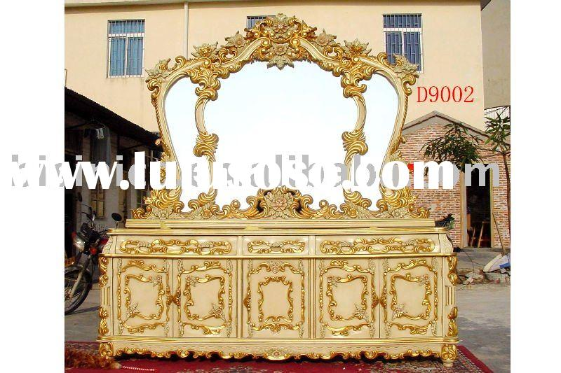 Antique hand carving dining room furniture, wooden buffet,sideboard, cabinet, mirror