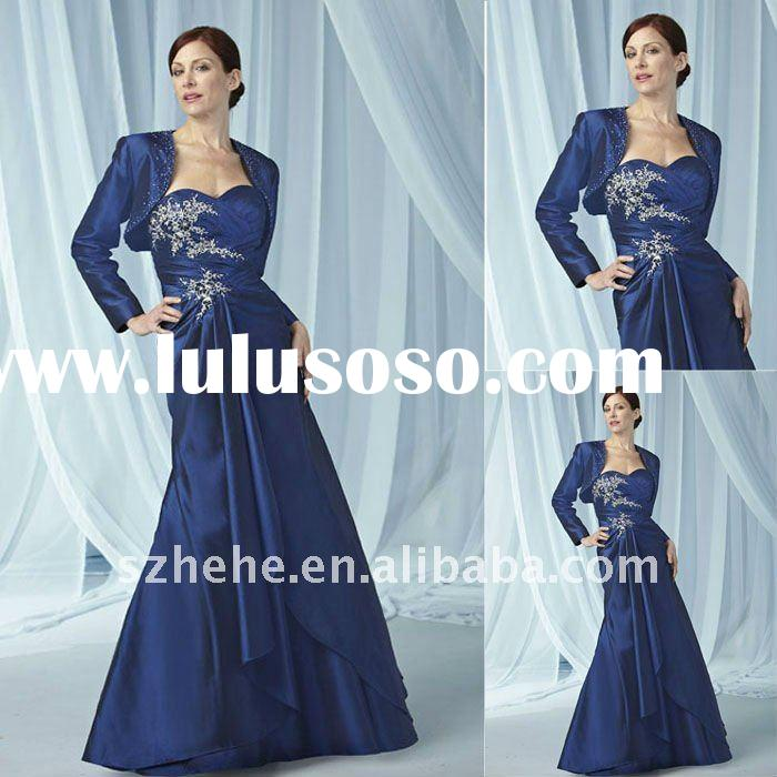 Attractive royal blue mother of the bride dress with long sleeve jacket