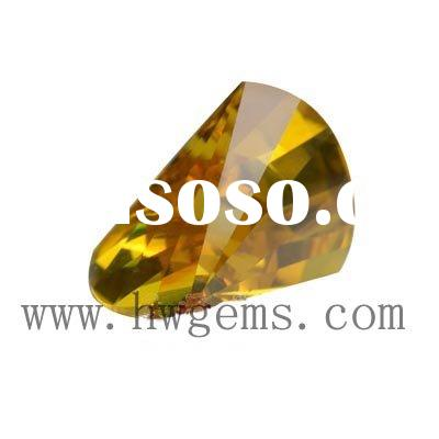 Axe Shaped Cubic Zirconia Stone Golden Color 009