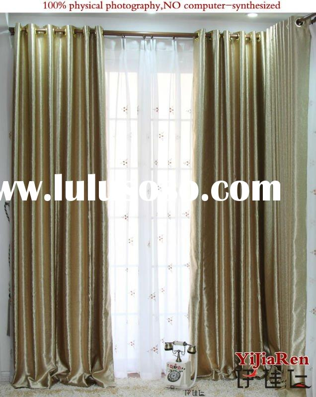 BC16100 100%Polyester pressed flower blackout curtain
