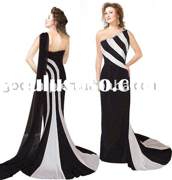 Black and White Stripe Evening Gown