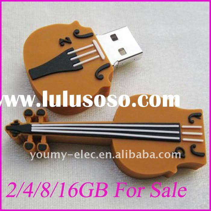 Brown Guitar Shape USB Flash Memory Pen Drive Stick