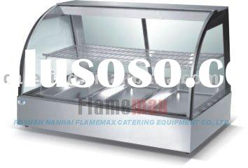 CE RoHS curved glass warming showcase (food display warmer)