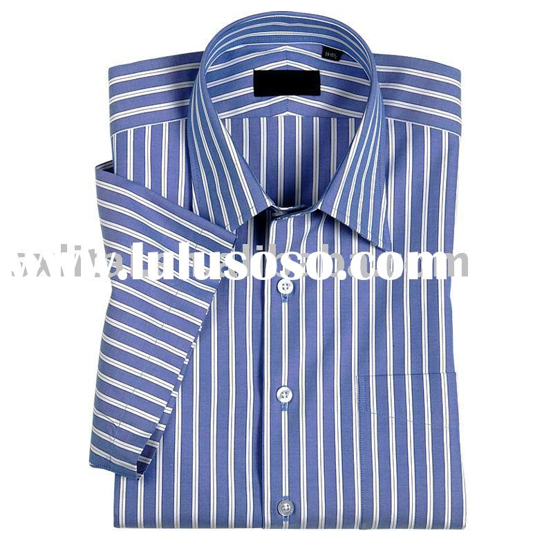 CVC65%cotton,35%polyester,blue and white stripe short sleeve classic collar dress shirt