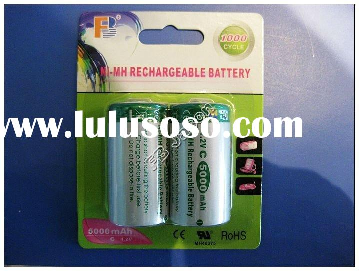 C Size 5000 mAh Flat Top rechargeable NiMH battery