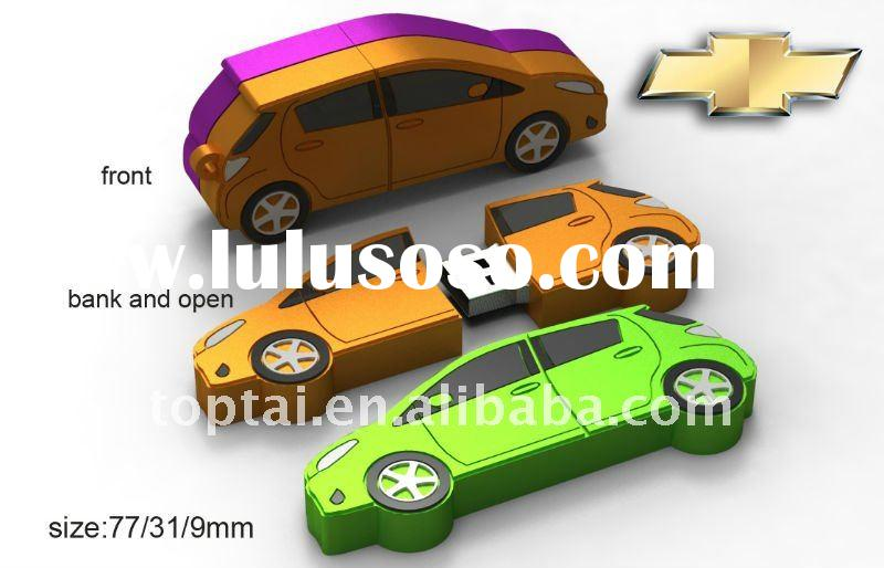 Car shape usb flash drive with material PVC and red color available