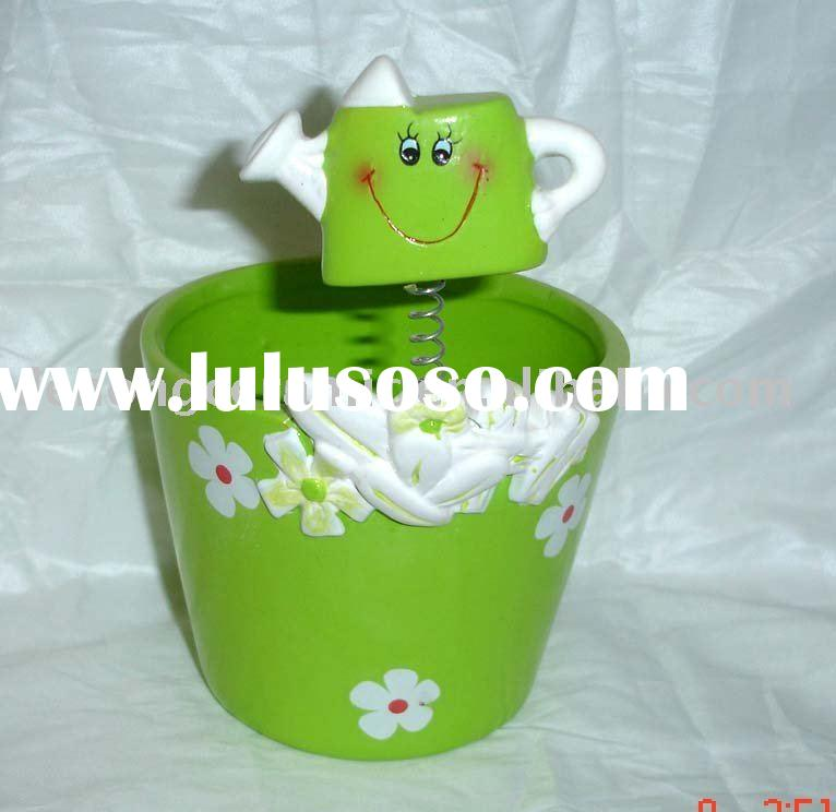 Ceramic green flower pots with funny face