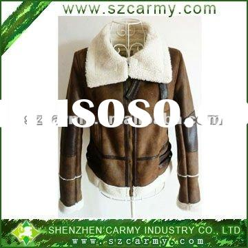 Cheap Women's Coffee Or Black Color Micro Suede Bounding Short Style Pilot PU Leather Jacket