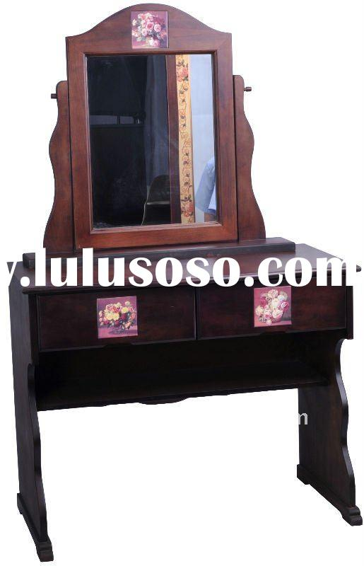 Classical Wooden Dresser With Mirror & Rose Ceramic Pattern 26-057