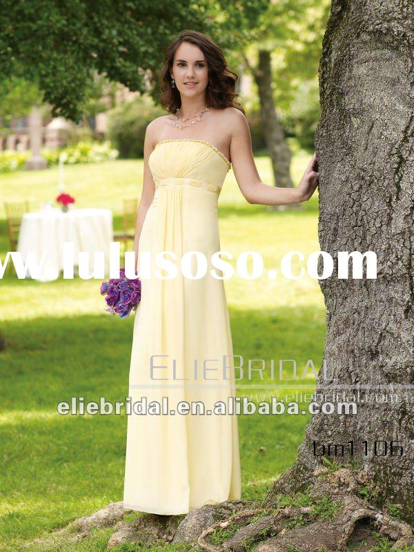 Custom Made Light Yellow Chiffon Ankle Length Ribbon Sash Bridesmaid Dress