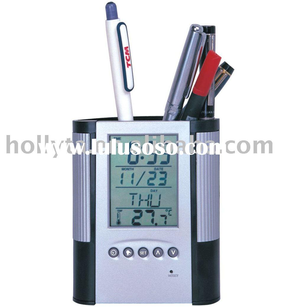 Digital alarm clock thermometer Pen holder