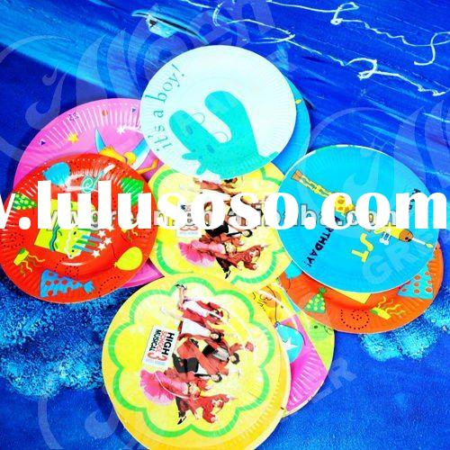 Disposable colorful printed decorative paper plates