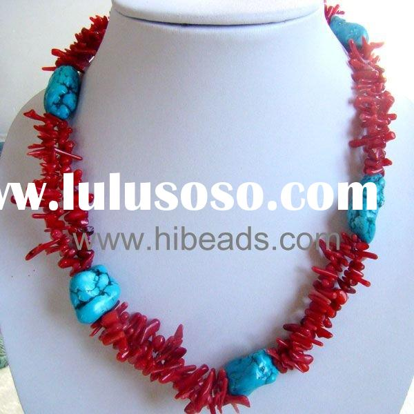 Drum red coral blue irregular turquoise necklace 925 silver clasps Coral-jewelry-0066-013