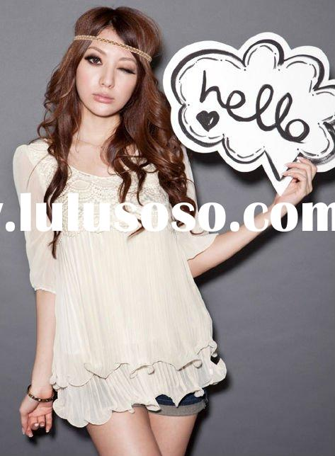 Elegant double lace hems ladies top fashion chiffon weaved neck casual blouse FY8552