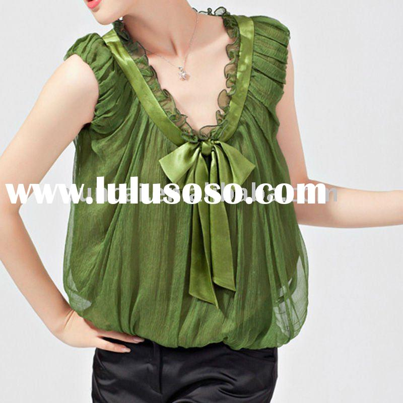Europe Style Fashion Elements Chiffon Blouses with Bowknot