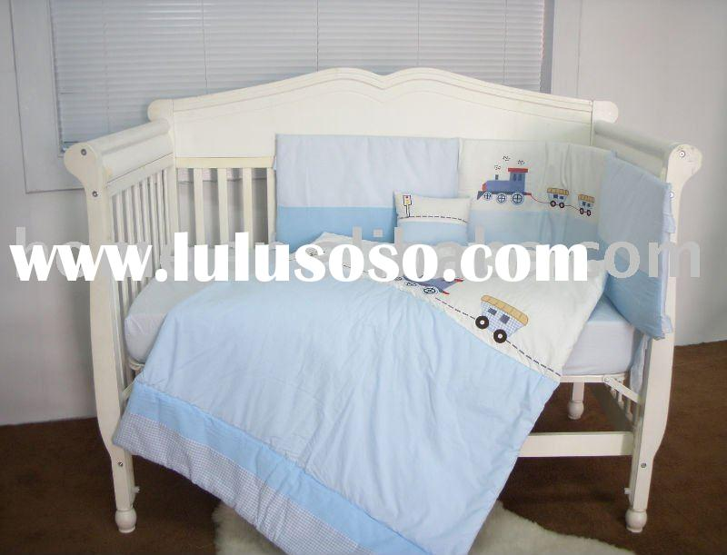 European appliqued blue train style baby bedding set