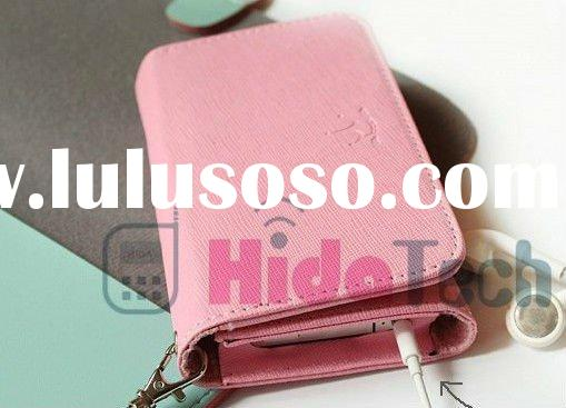 Factory Price Korea wallet cellphone leather case for iphone 4G 4s smart pouch card holder leather b